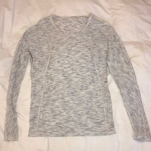 White and grey lululemon long sleeve top